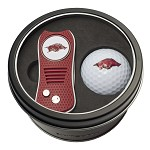 ARKANSAS RAZORBACKS SWITCH DIVOT TOOL AND GOLF BALL GIFT TIN