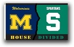 Michigan Wolverines vs. Michigan State Spartans 3x5 House Divided Flag