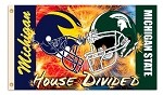 Michigan State Spartans 3x5 House Divided Flags