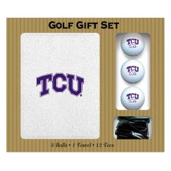 Texas Christian (TCU) Horned Frogs Embroidered Golf Gift Set