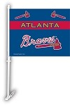 Atlanta Braves Car Flag W/Wall Brackett