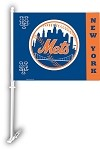 New York Mets Car Flag W/Wall Brackett