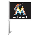 Miami Marlins Car Flag W/Wall Brackett
