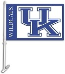 Kentucky Wildcats Car Flag W/Wall Brackett