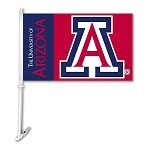 Arizona Wildcats Car Flag W/Wall Brackett
