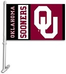 Oklahoma Sooners Car Flag W/Wall Brackett