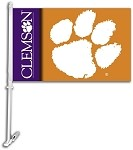 Clemson Tigers Car Flag W/Wall Brackett
