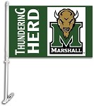 Marshall Thundering HerdCar Flag W/Wall Brackett