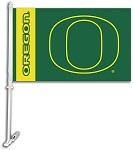 Oregon Ducks Car Flag W/Wall Brackett