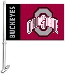 Ohio State Buckeyes Car Flag W/Wall Brackett