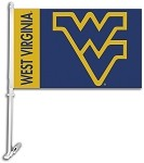 West Virginia Mountaineers Car Flag W/Wall Brackett