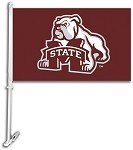 Mississippi State Bulldogs Car Flag W/Wall Brackett