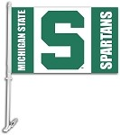 Michigan State Spartans Car Flag W/Wall Brackett