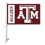 Texas A&M Aggies Car Flag W/Wall Brackett