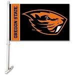 Oregon State Beavers Car Flag W/Wall Brackett