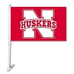 Nebraska Cornhuskers Car Flag W/Wall Brackett