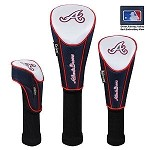 Atlanta Braves Nylon Set of 3 Golf Headcovers