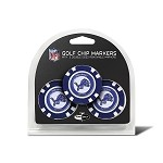 Detroit Lions NFL Set of 3 Poker Chips