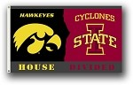 Iowa - Iowa State 3 Ft. X 5 Ft. Flag W/Grommets - Rivalry House Divided