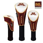 Minnesota Golden Gophers Nylon Graphite Golf Set of 3 Headcovers