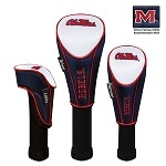 Mississippi Rebels Nylon Graphite Golf Set of 3 Headcovers