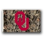 Oklahoma Sooners 3 Ft. X 5 Ft. Flag W/Grommets - Realtree Camo Background