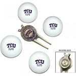 Texas Christian (TCU) Horned Frogs 4 Ball Divot Tool Golf Gift Set