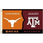 Texas - Texas A&M 3 Ft. X 5 Ft. Flag W/Grommets - Rivalry House Divided