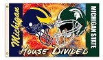 Michigan - Michigan St. 3 Ft. X 5 Ft. Flag W/Grommets - Helmet Rivalry House Divided