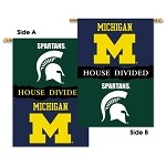 Michigan - Michigan State Spartans House Divided Banner Flag