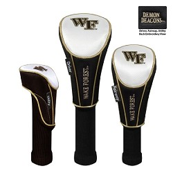 Wake Forest Demon Deacons Nylon Graphite Golf Set of 3 Headcovers