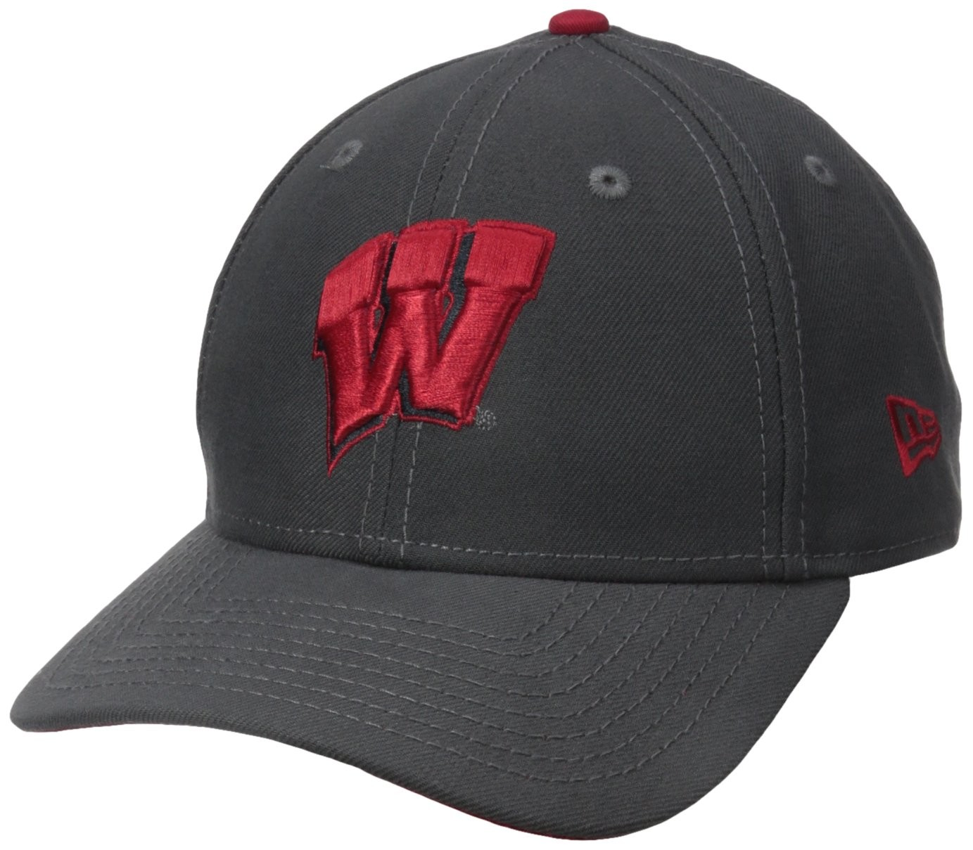 NCAA Wisconsin Badgers New Era College The League Graph Pop Adjustable Cap, One Size, Graphite