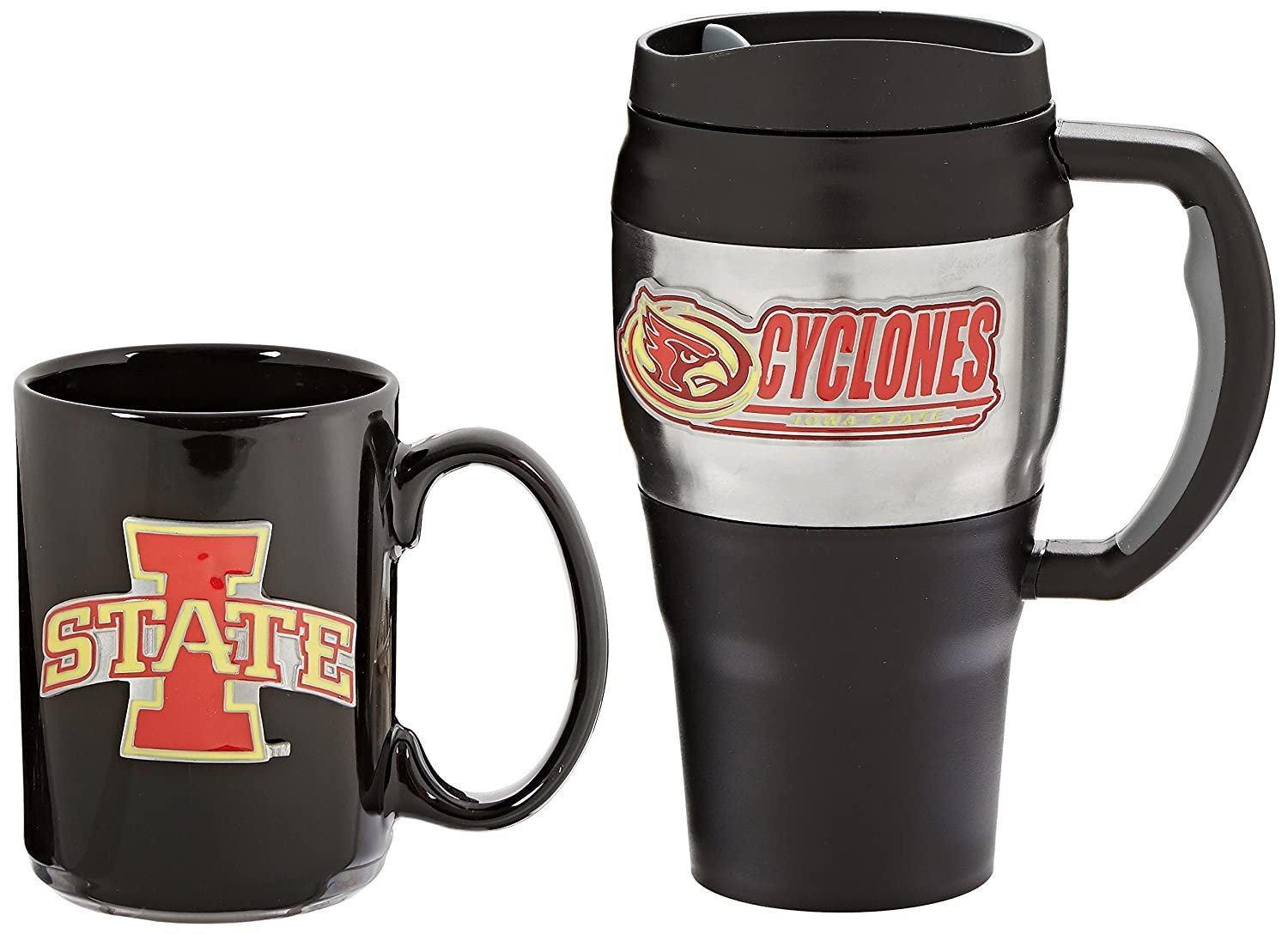 Iowa State NCAA 20-Ounce Heavy Duty Travel Mug and 15-Ounce Ceramic Mug Set